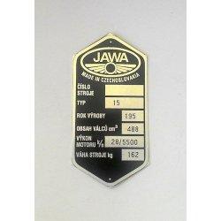 Type plate - Jawa 500 OHC - CZ or ENG