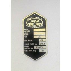 Type plate - Jawa 250 / 592 Panelka