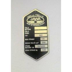 Type plate - Jawa 350 / 360 Panelka
