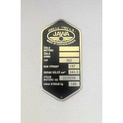 Type plate - Jawa 350 / 362 Californian