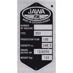Type plate - Jawa 250 / 353 Kyvacka - 6 rows, CZ or ENG