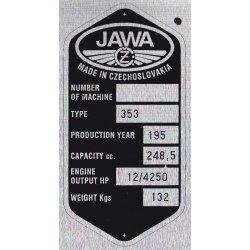 Type plate - Jawa 250 / 353 Kyvacka - 6 rows, CZ or ENG
