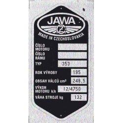 Type plate - Jawa 250 / 353 Kyvacka - 7 rows