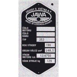 Type plate - Jawa 250 / 353 Kyvacka - Zavody 9. kvetna n.p.