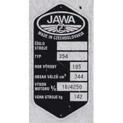 Type plate - Jawa 350 / 354 Kyvacka - 6 rows, CZ or ENG