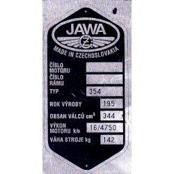 Type plate - Jawa 350 / 354 Kyvacka - 7 rows