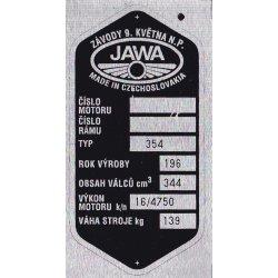 Type plate - Jawa 350 / 354 Kyvacka - Zavody 9. kvetna n.p.
