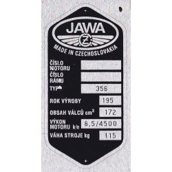 Type plate - Jawa-ČZ 175 / 356 Kyvacka - 7 rows